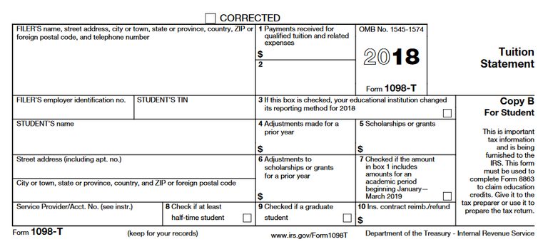 sample 1098-t tax form