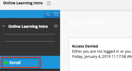 access denied message and enroll link in Blackboard