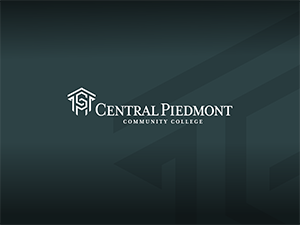 Black gradient diamond background with white Central Piedmont Logo