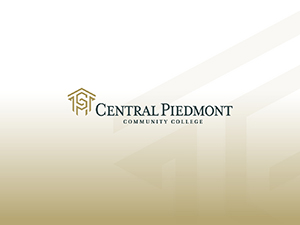 gold gradient diamond background with gray Central Piedmont logo