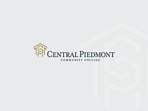 white gradient diamond background with full color Central Piedmont logo