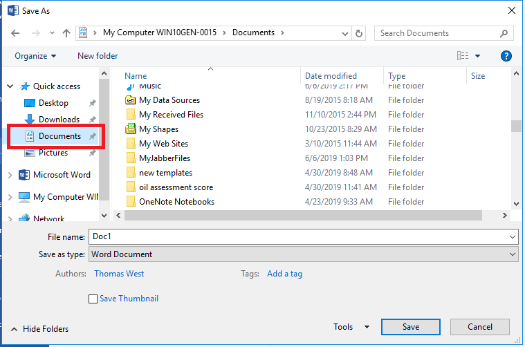 save file to Documents, not desktop or anywhere else