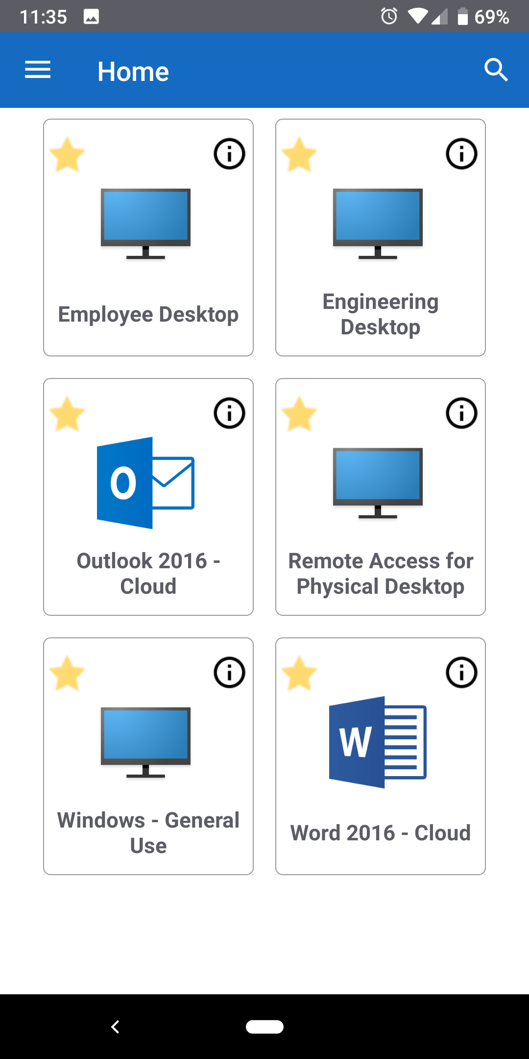 Citrix Workspace home screen for Android