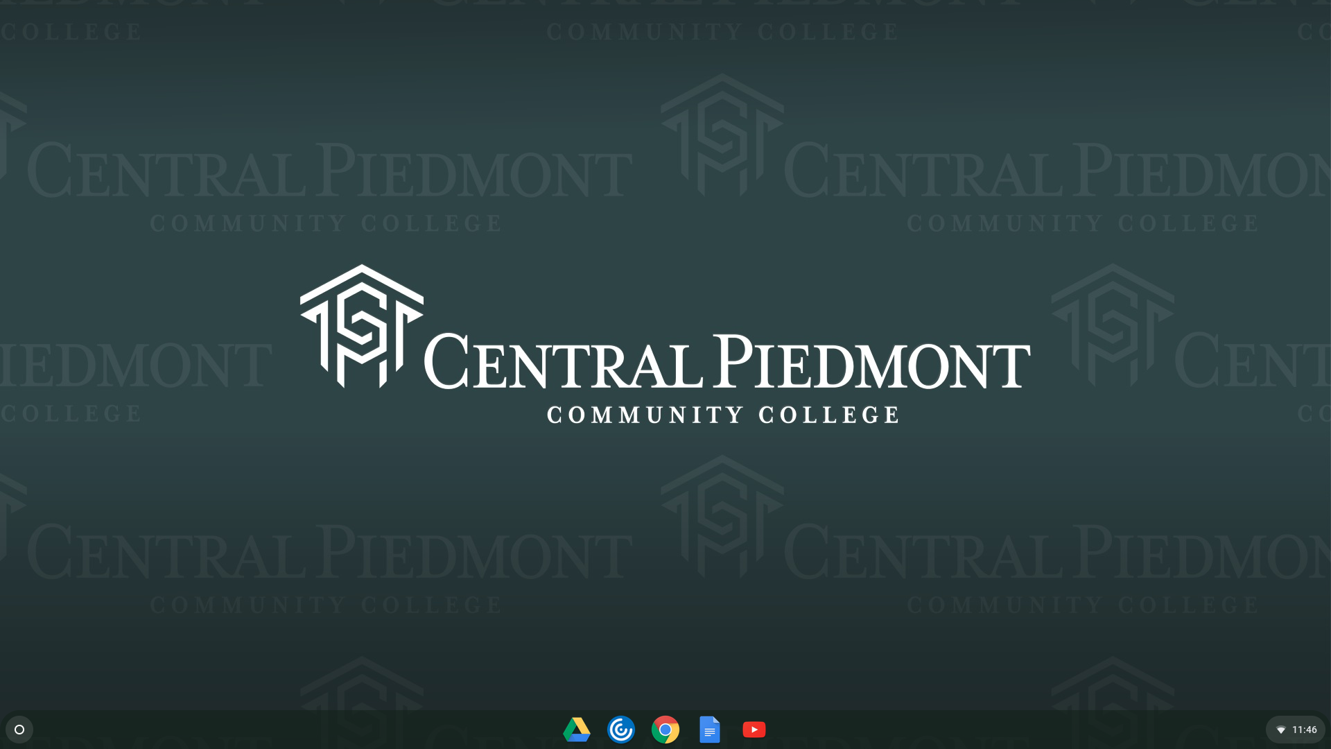 background of Chromebook signed into Central Piedmont account
