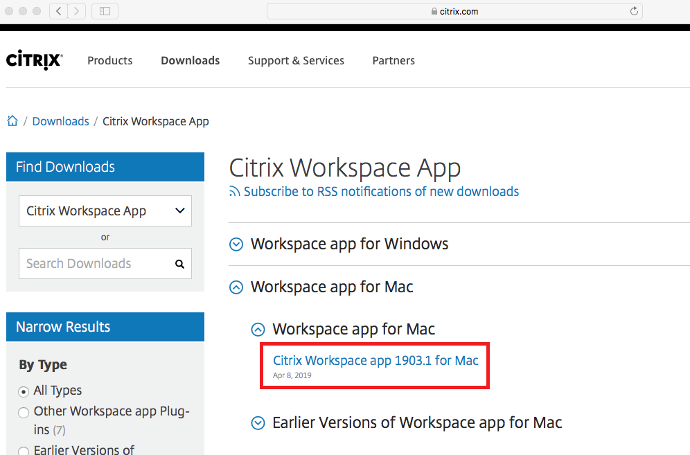 select Citrix Workspace app for Mac from Workspace site