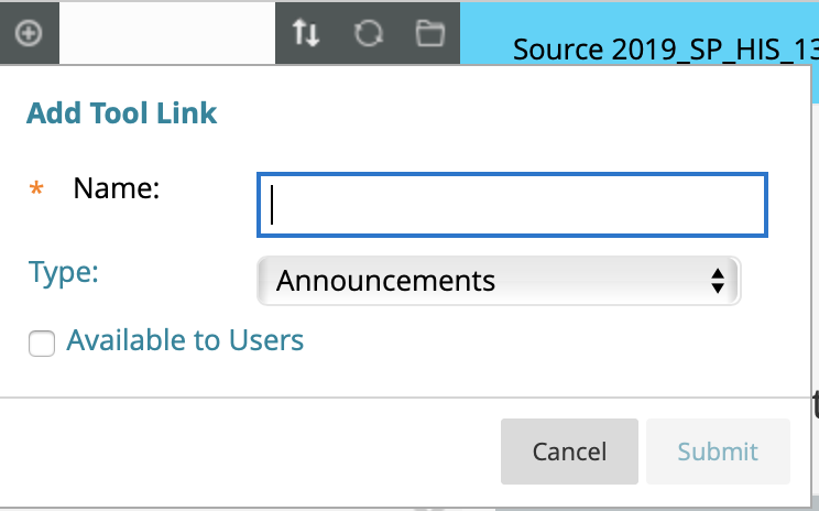Add Tool Link menu in Blackboard, including link type menu