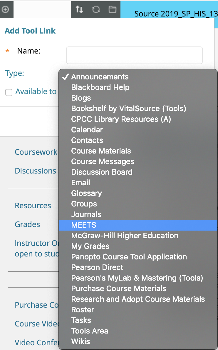 Add Tool Link menu in Blackboard with full list of link types