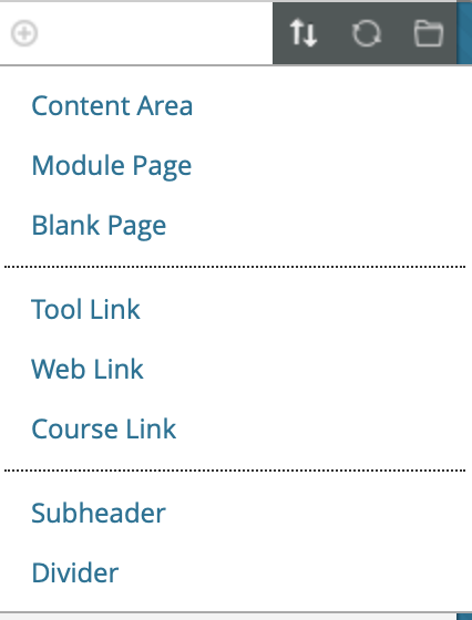 add link menu in Blackboard Learn with Tool Link listed