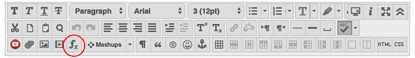 Blackboard Math Bar with red circled indicating math button.